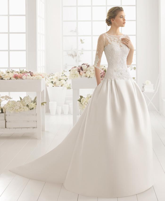 vestido de novia mikael de aire barcelona. tienda de novias