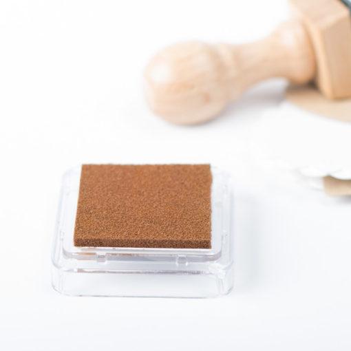 Tampón de tinta para sellos personalizados color marrón