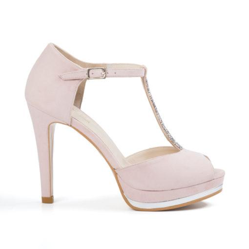 Zapato de novia LODI Pauli realizado en ante color rosa.