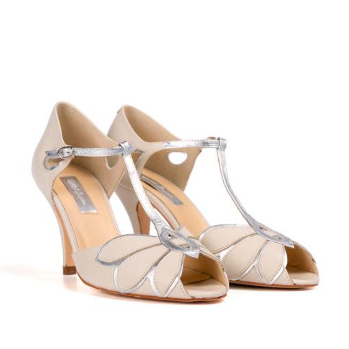 Zapatos de novia Rachel Simpson Mimosa Ivory en piel color champán.