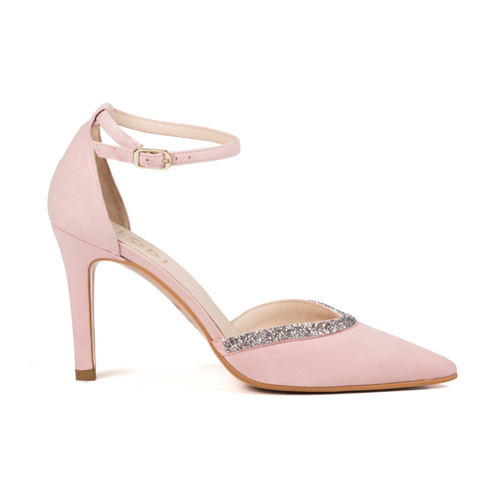 Zapato de novia en ante color rosa con punta LODI Ramina