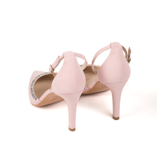 Zapatos de novia en ante color rosa con punta LODI Ramina